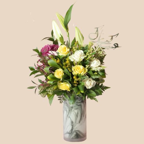 Eid Marble vase flowers