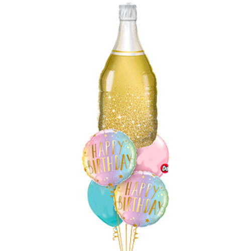 Champagne Birthday balloon bouquet