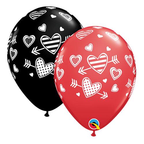 Heart arrow latex balloon