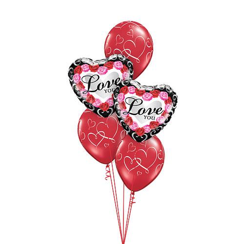 Roses Heart Balloons bouquet