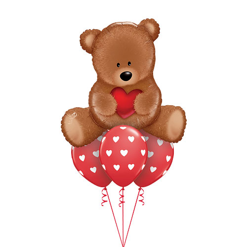 Teddy Love balloons bouquet