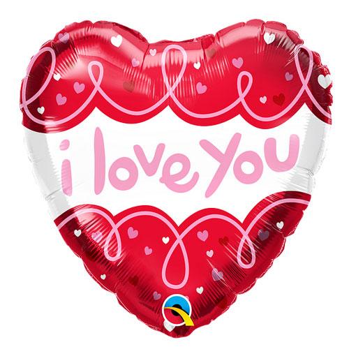 Doodle loops I Love you balloon