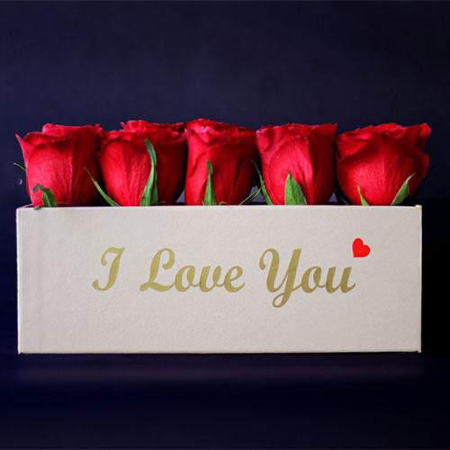 Rectangular Love box - Brown