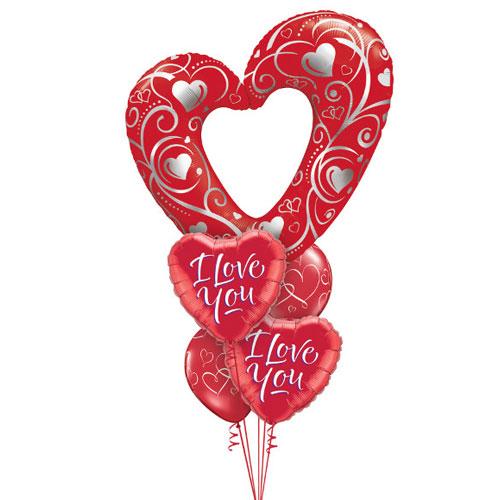 Balloon bouquet - Red heart