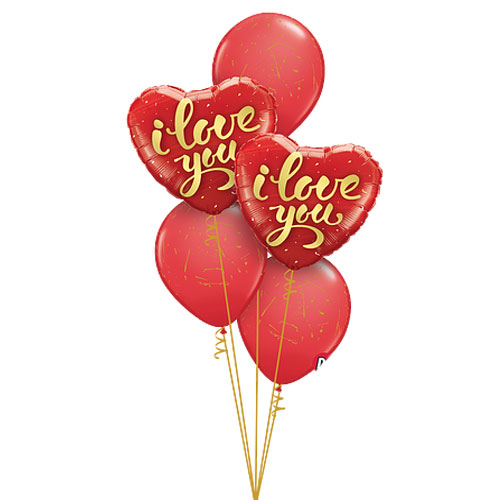 I Love you gold - balloons bouquet